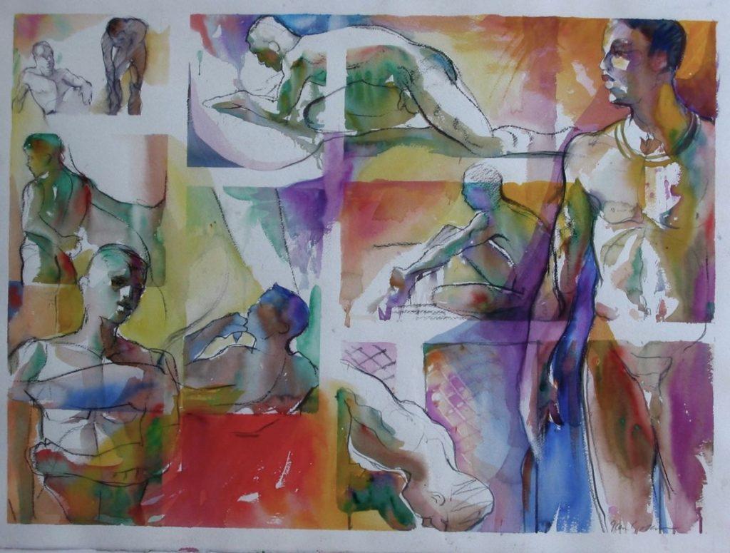 Ken-Goldman-2, 5, 20 Minute Studies 1-Watercolor-15x22