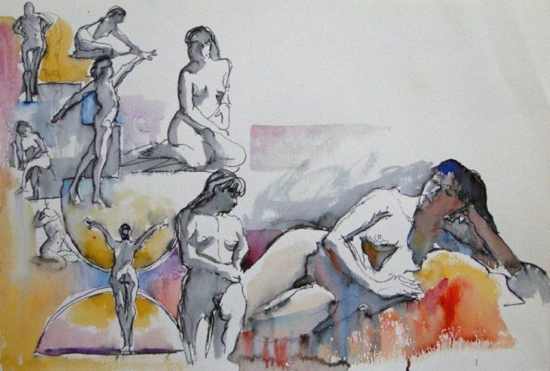 Ken-Goldman-2, 5, 20 Minute Studies-Watercolor-15x22