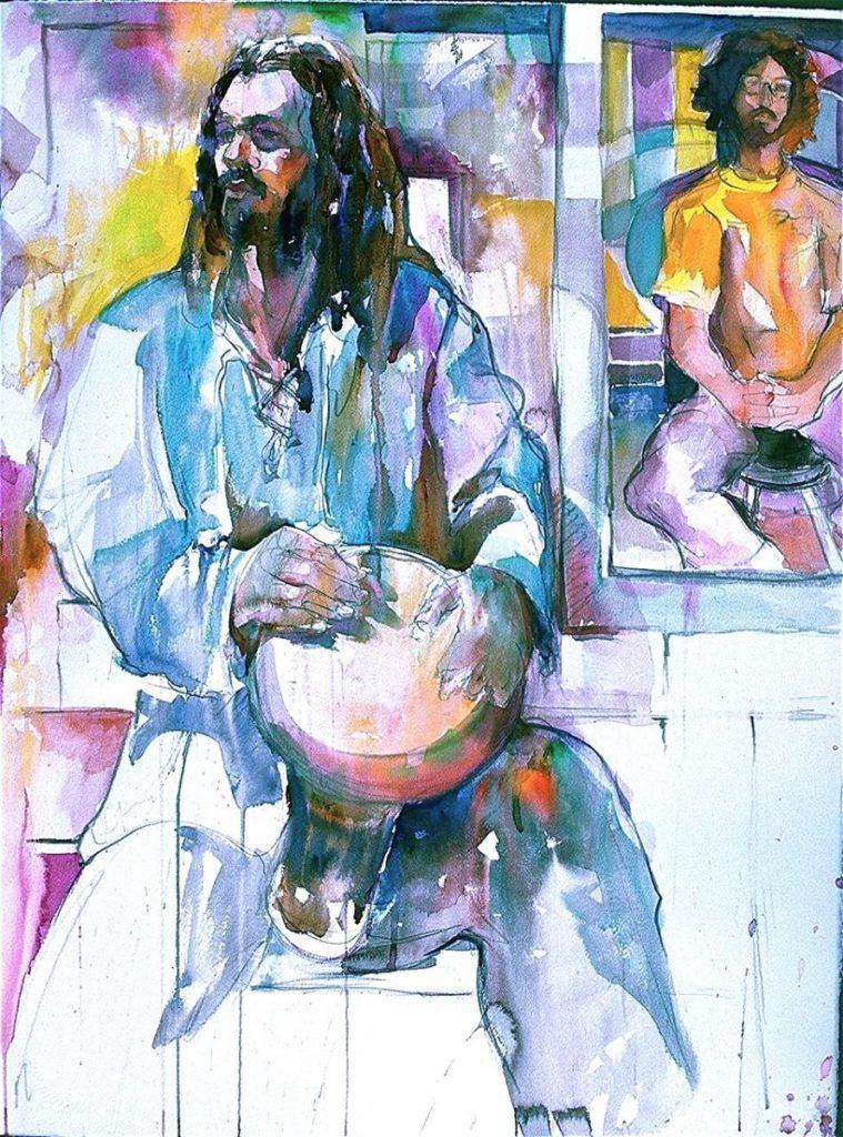 Ken Goldmanfineart_Man with drum_Watercolor_30x22, SOLD