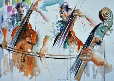kengoldmanfineart-Rehearsal 2-Watercolor-22x30 - SOLD
