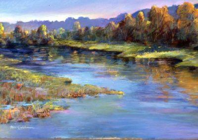 "kengoldmanfineart_Pastel_Landscape_San Diego River, 30x48"" - SOLD"