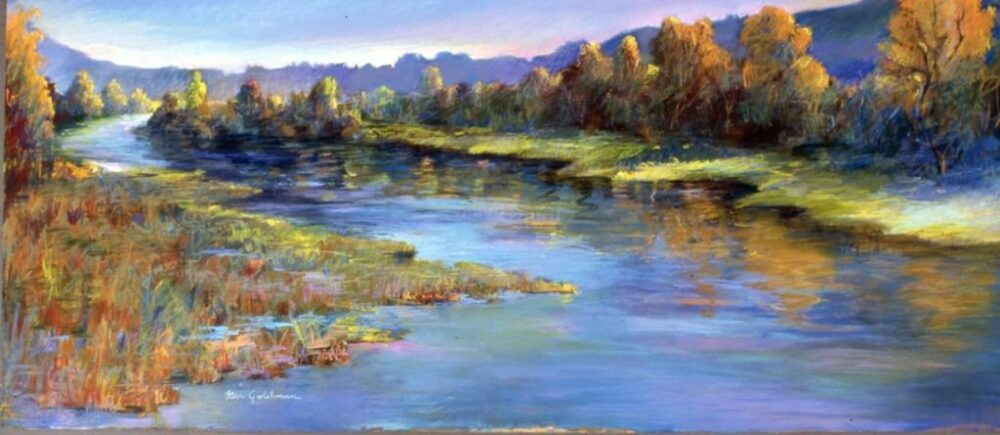 "Ken Goldmanfineart_Pastel_Landscape_San Diego River, 30x48"" - SOLD"