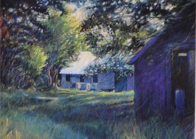 kengoldmanfineart_Pastel_Landscape_Purple Shed, 18x24 - SOLD