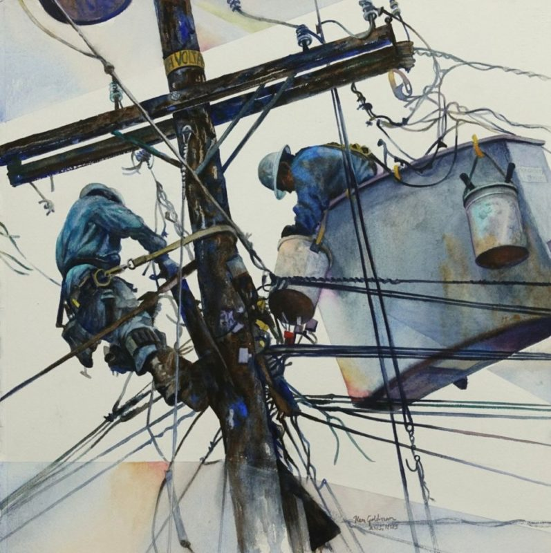 Ken Goldman_Space and Line 3_Watercolor_22x22, Collection of SDG&E