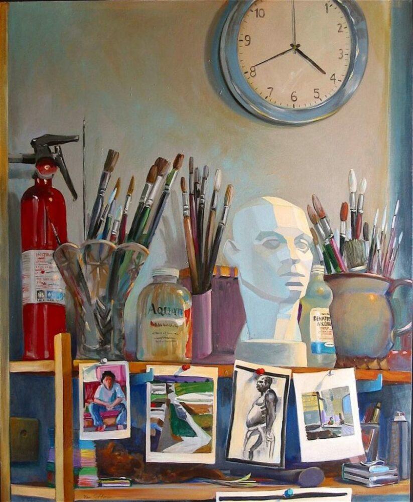 Ken Goldmanfineart-Studio Shelf-Acrylic-Still Life-40x30 - SOLD