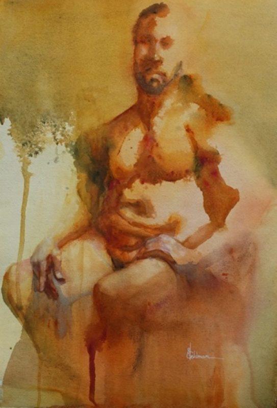 Stephanie Goldmanfineart_Ausie Gold, Watercolor 23x15