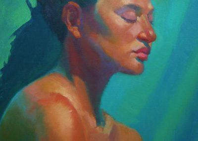 stephaniegoldmanfineart_Head Color Study Turquoise_20x16-SOLD