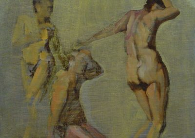 stephaniegoldmanfineart_Female Figure with Gold Ground_Oil_9x12