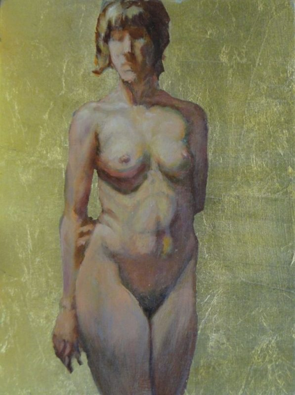 Stephanie_Goldman_Female Nude with Gold Leaf_Oil_10x8