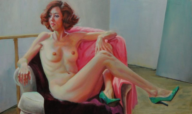 Stephanie Goldmanfineart_Green Shoes_Oil_Nude_Figure_Painting 36x48