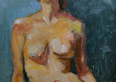 stephaniegoldmanfineart_Alla Prima Figure Sketch, Oil 7x5  - SOLD