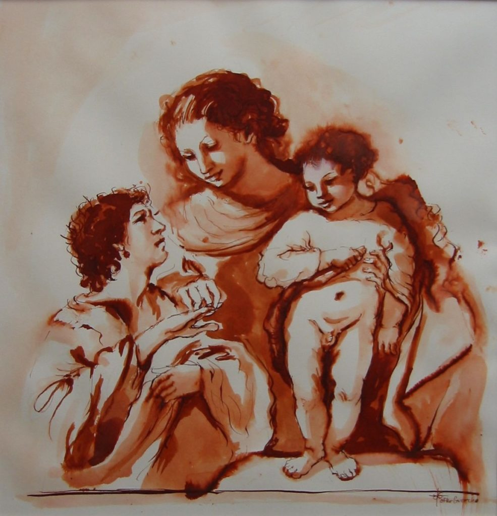 Stephanie Goldmanfineart_Holy Family after Guercino, Pen & Ink 1