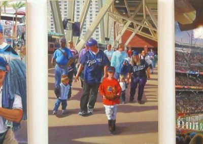 kengoldmanfineart-Petco Park Opening Day-Acrylic-Figures-48x180 - SOLD - Giclees Available