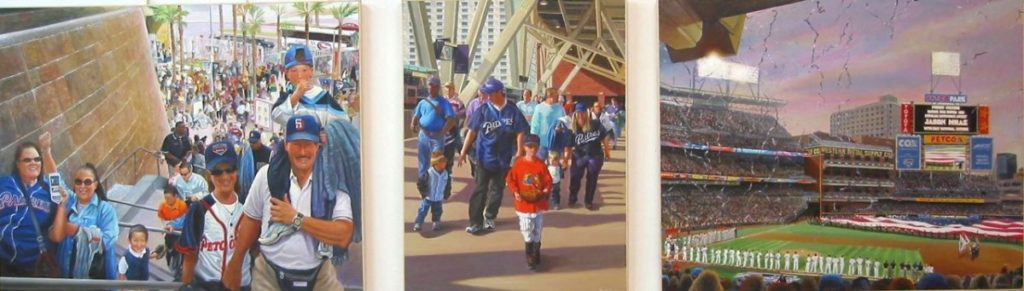 Ken_Goldman-Petco Park Opening Day-Acrylic-Figures-48x180 - SOLD - Giclees Available