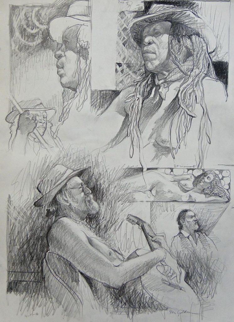 Ken_Goldman-Head Study 1-Graphite Drawing-24x18