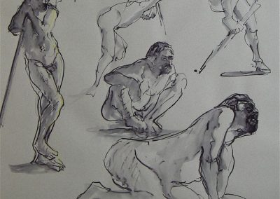 kengoldmanfineart_5 Minute Minute Figure Composition  - Ink Drawing-25x19