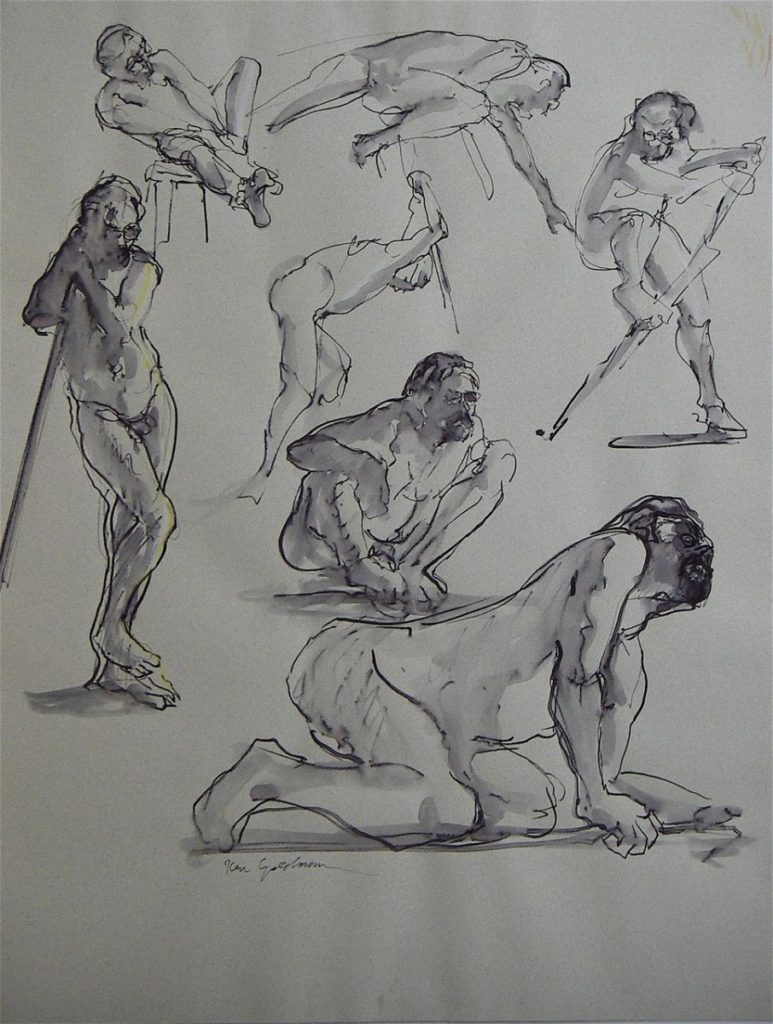 Ken_Goldman_5 Minute Minute Figure Composition - Ink Drawing-25x19