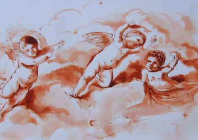 stephaniegoldmanfineart_Watercolor_Sanguine Ink-Three Putti after Guercino 6x11