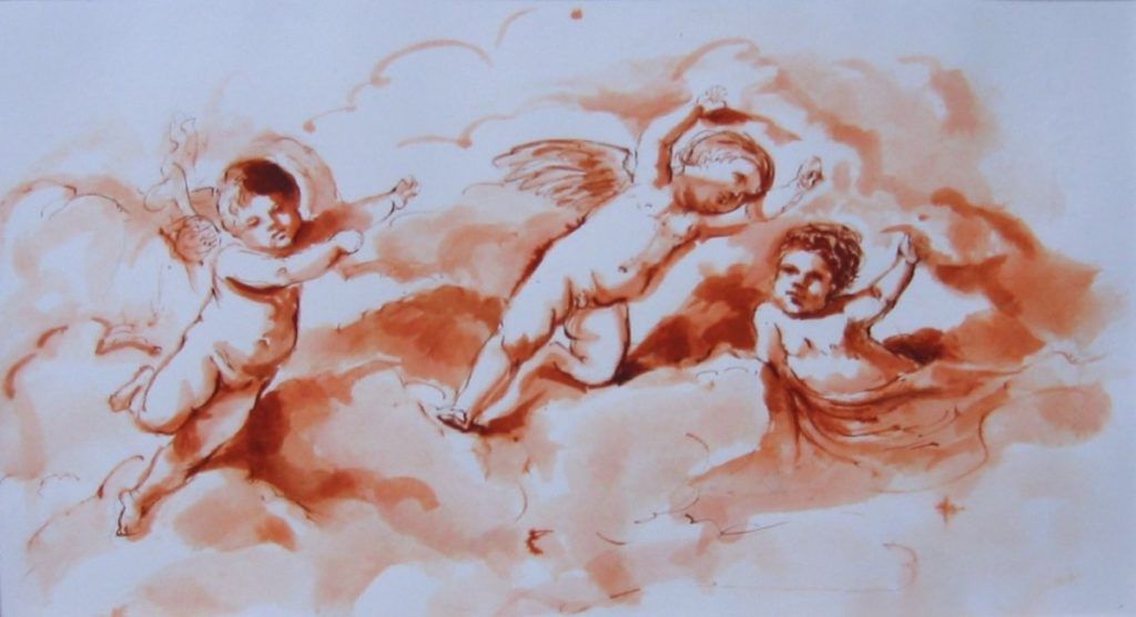 Stephanie_Goldman_Watercolor_Sanguine Ink-Three Putti after Guercino 6x11