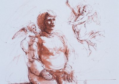 stephaniegoldmanfineart_Woman with two Putti_Pen-and-Sanguine-Ink_10x8