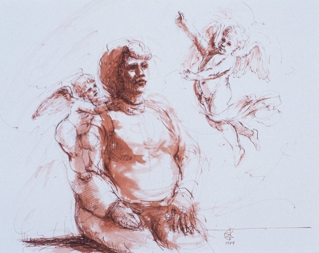 Stephanie_Goldman_Woman with two Putti_Pen-and-Sanguine-Ink_10x8