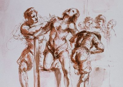 stephaniegoldmanfineartWatercolor_Sanguine Ink-Apollo flaying Marsyas 7x9