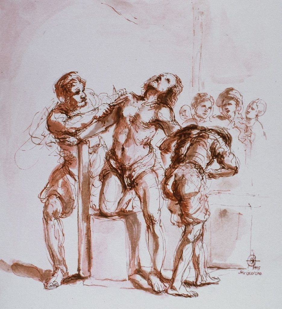 Stephanie_Goldman_Watercolor_Sanguine Ink-Apollo flaying Marsyas 7x9