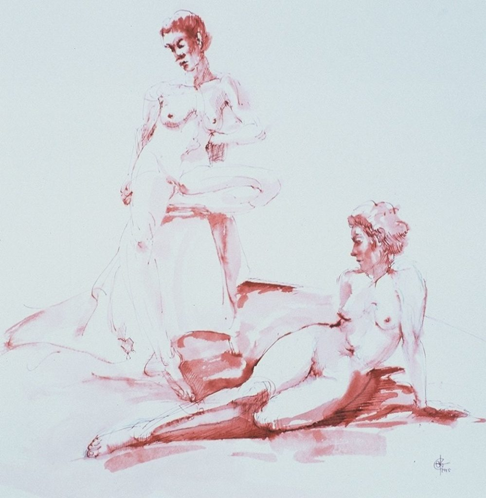 Stephanie_Goldman_Two-Figures_Pen-and-Sanguine-Ink_10x8
