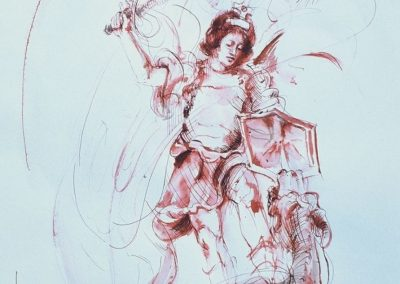 stephaniegoldmanfineart_Watercolor_Sanguine Ink-Saint Michael and the Dragon 17x14