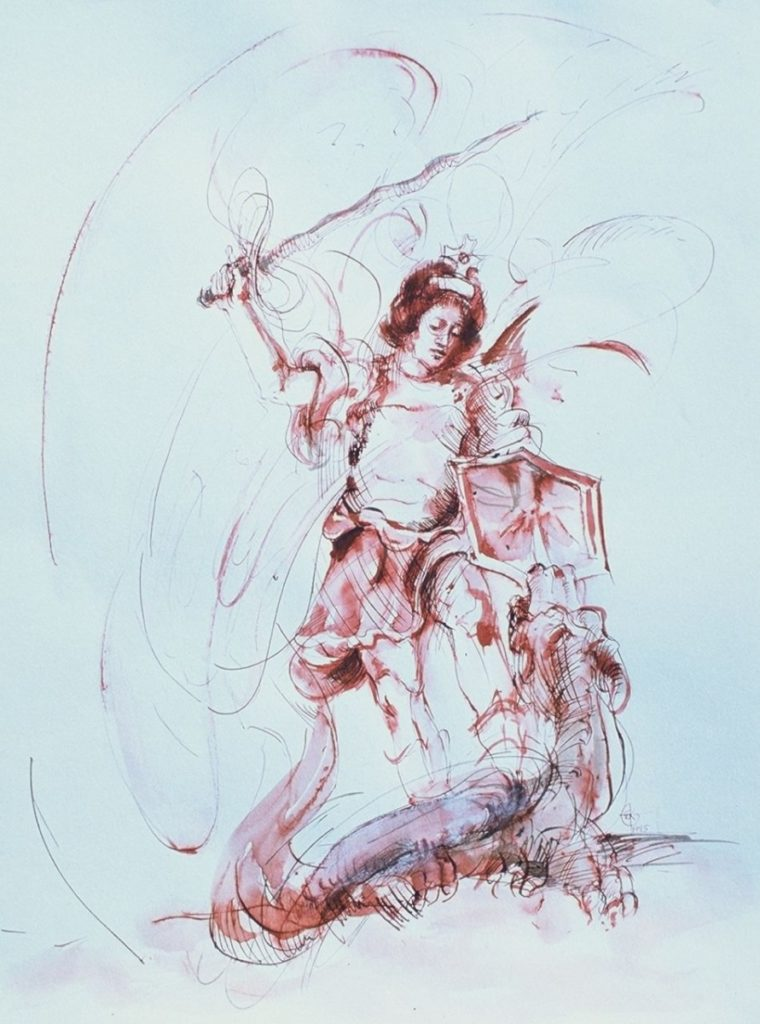 Stephanie_Goldman_Watercolor_Sanguine Ink-Saint Michael and the Dragon 17x14
