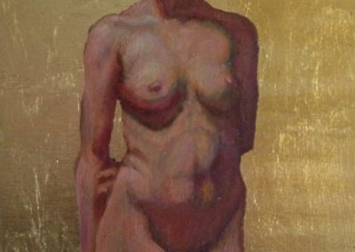 stephaniegoldmanfineart_Female Figure with Gold Leaf_Oil 10x8