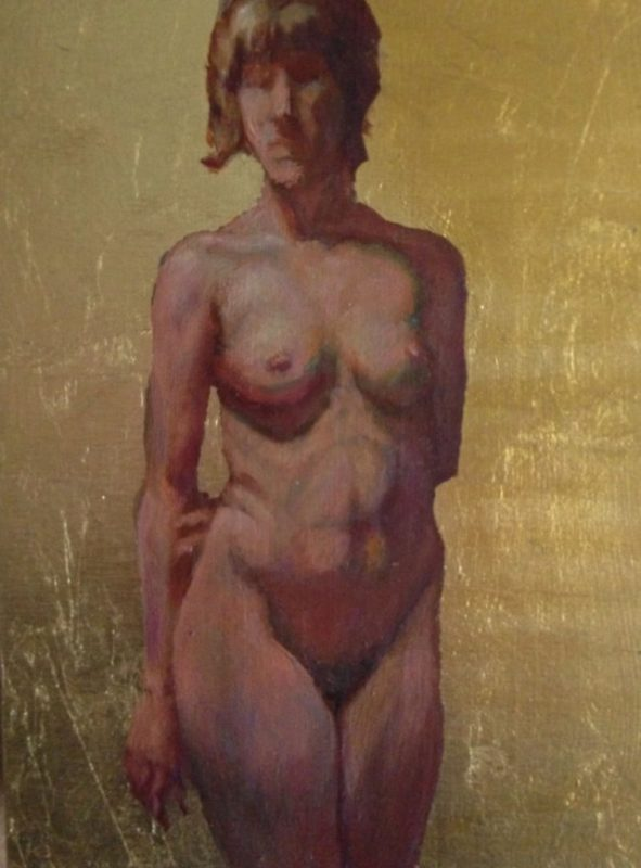 Stephanie_Goldman_Female Figure, Gold Leaf & Oil 10x8