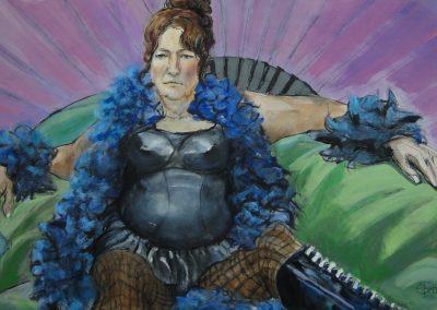 StephanieGoldmanfineart_Feathers&Pleather_Acrylic on Stonehenage 25x36