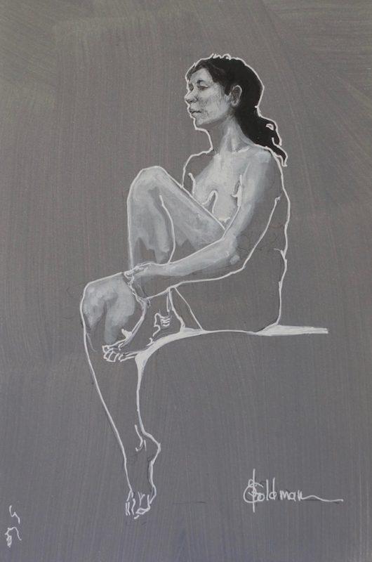 StephanieGoldmanfneart__Seated Nude_Graphite Ink White_11x7