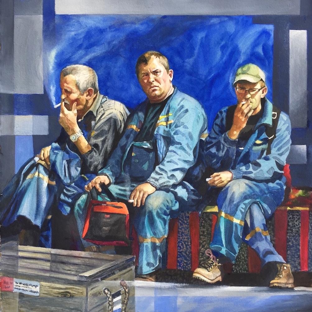 Ken Goldmanfineart_Ship-workers, Gdansk Poland_Watercolor_22x22