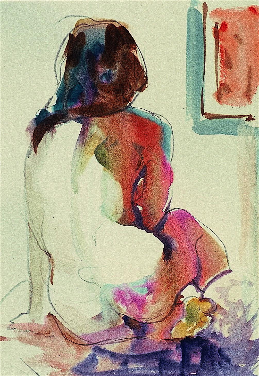 Ken Goldmanfineart_10 minute Back view_Watercolor_11x7, SOLD