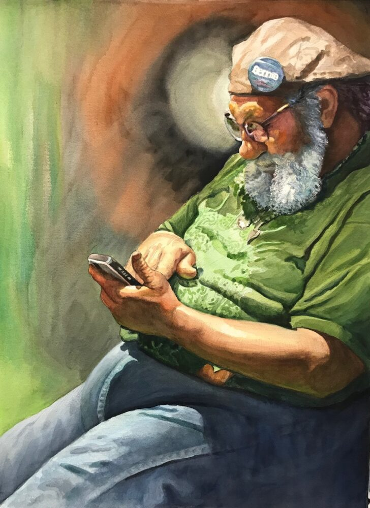 Ken Goldmanfineart_Bernie-Bro_Watercolor_30x22