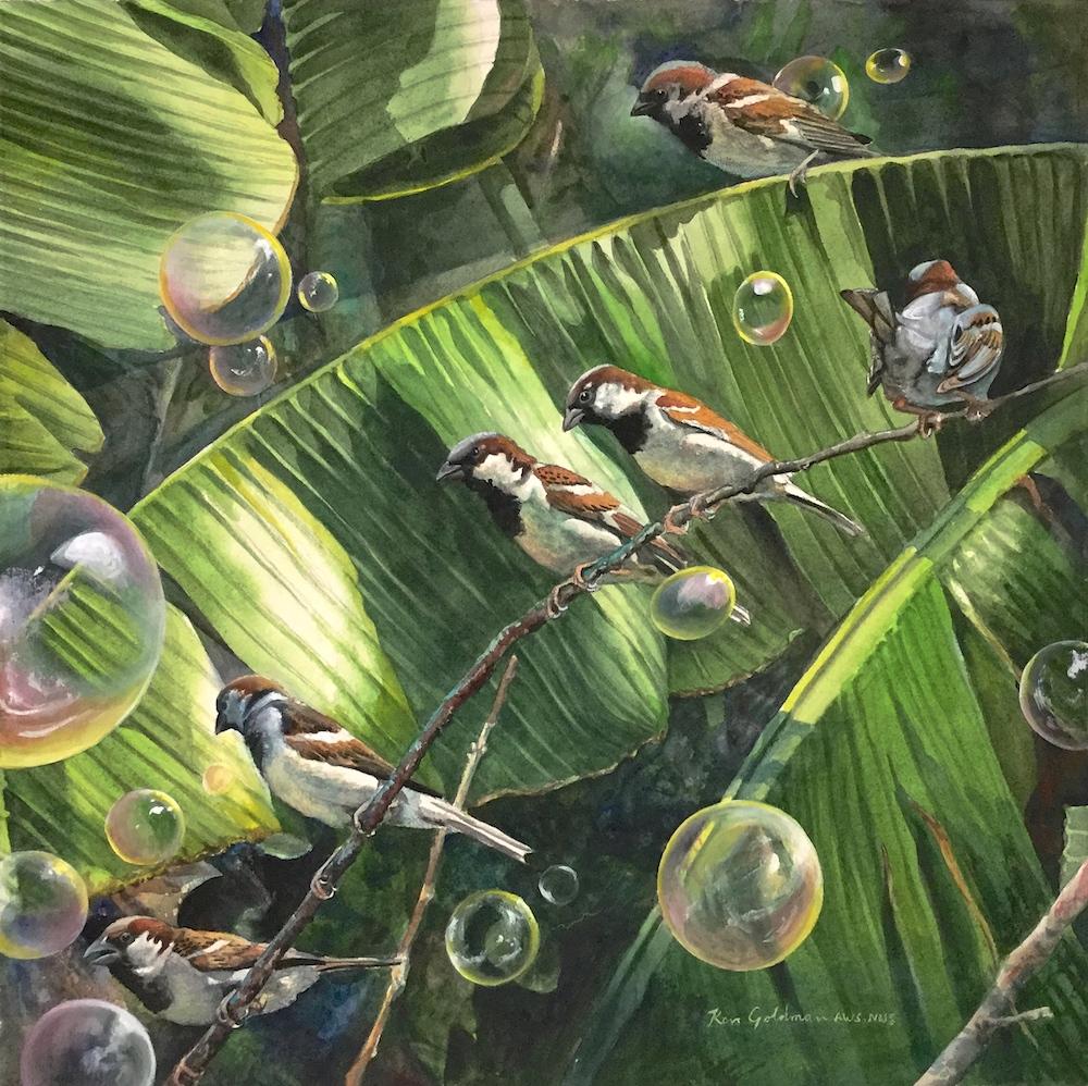 Ken Goldmanfineart_Bubble Birds_Watercolor_22x22-SOLD