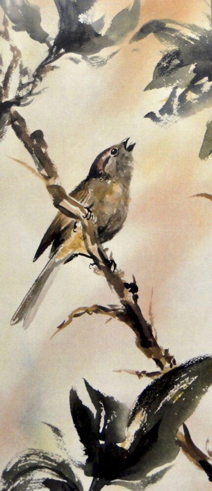 Ken Goldmanfineart_Exuberant Sparrow_Watercolor_22x15, SOLD