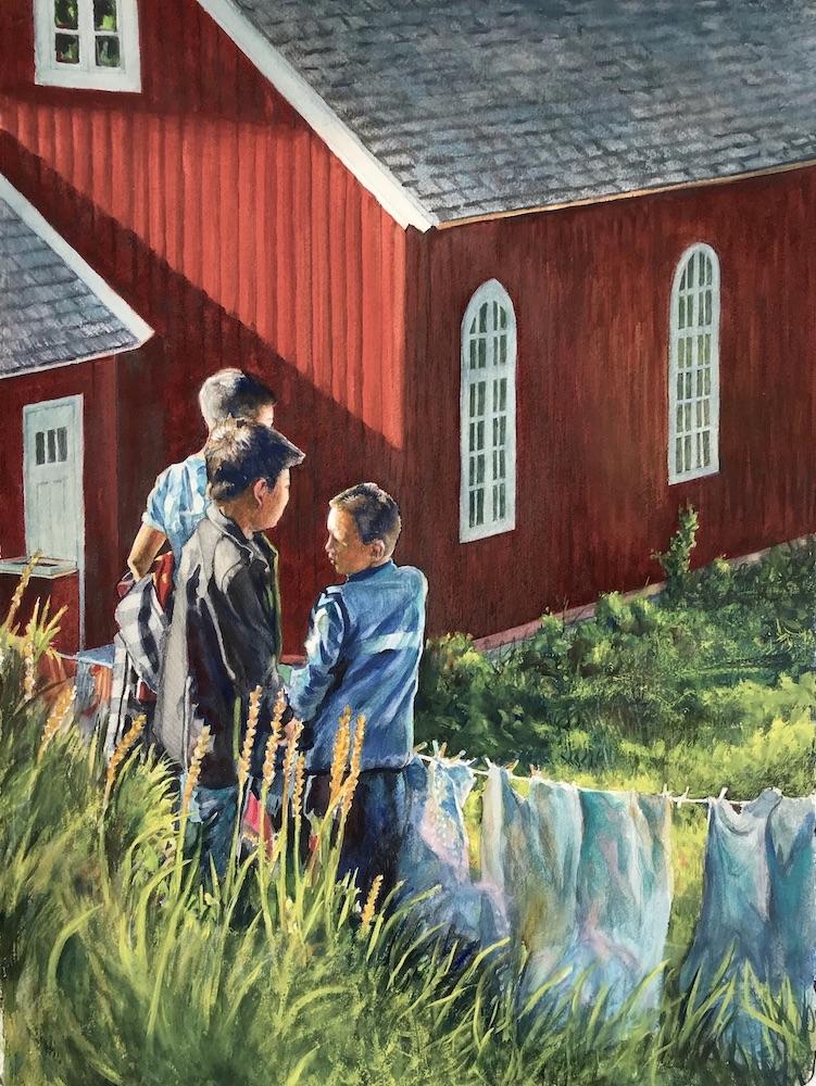 Ken Goldmanfineart_Greenland, Last Spot of Sunlight_Watercolor_30x22
