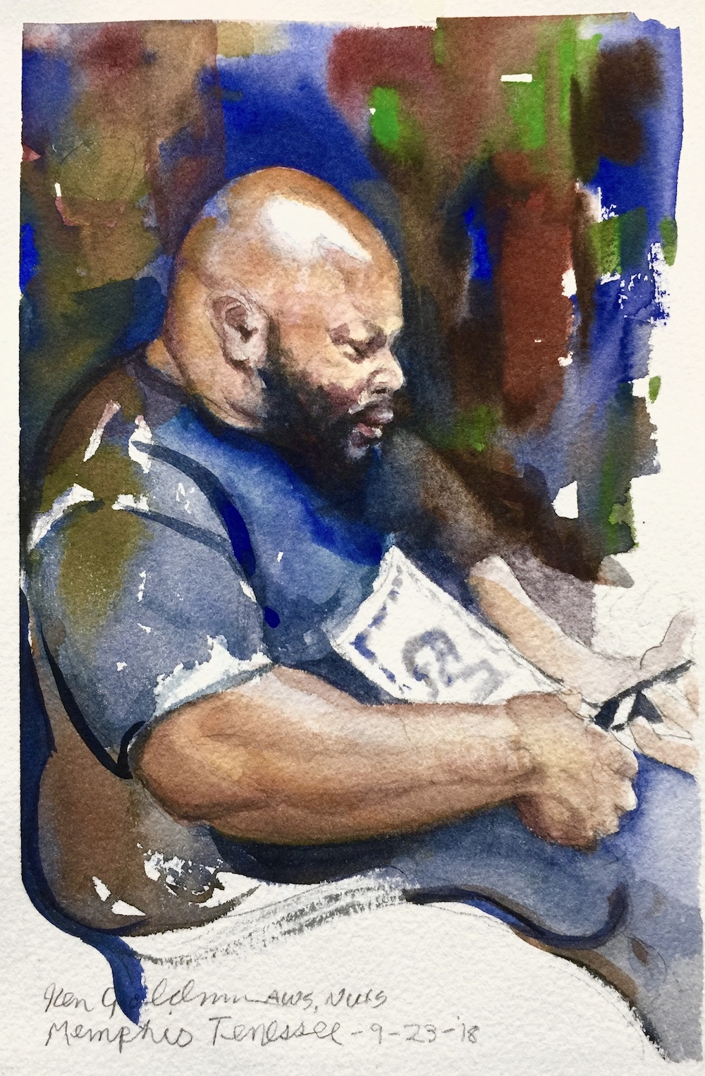 Ken Goldmanfineart_Memphis Bookie_Watercolor_12x9