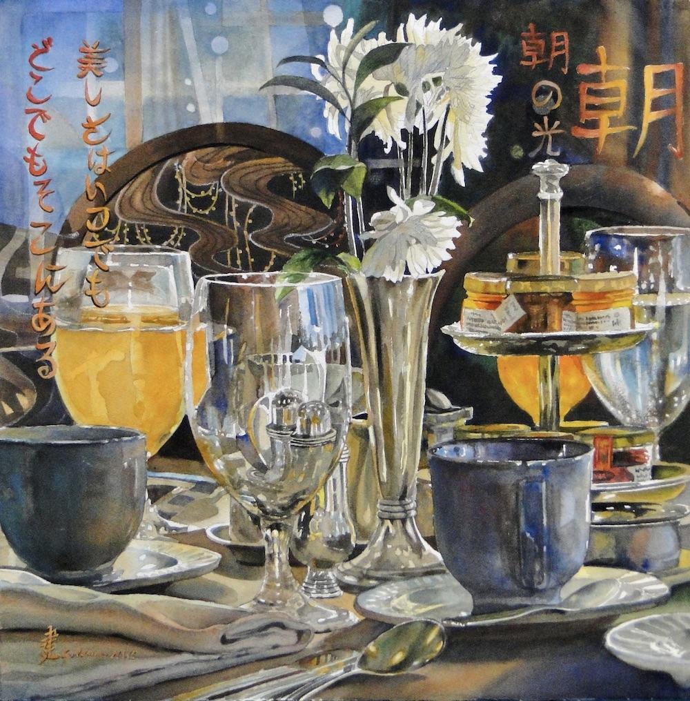 Ken Goldmanfineart_Morning Glow_Watercolor_22x22