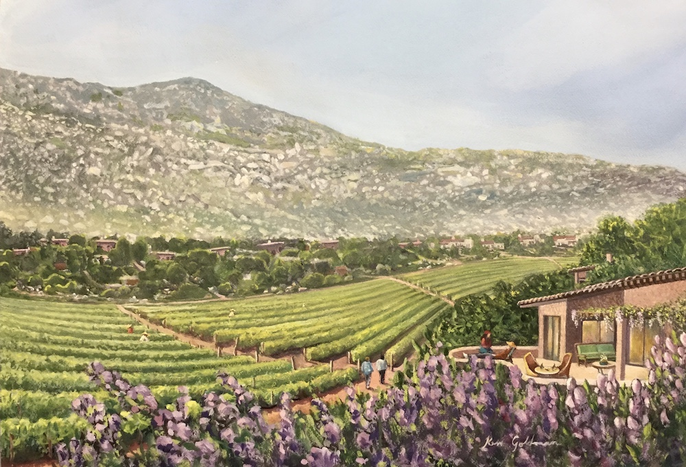 Ken Goldmanfineart_Rancho Las Delicias Overview_Watercolor_16x23