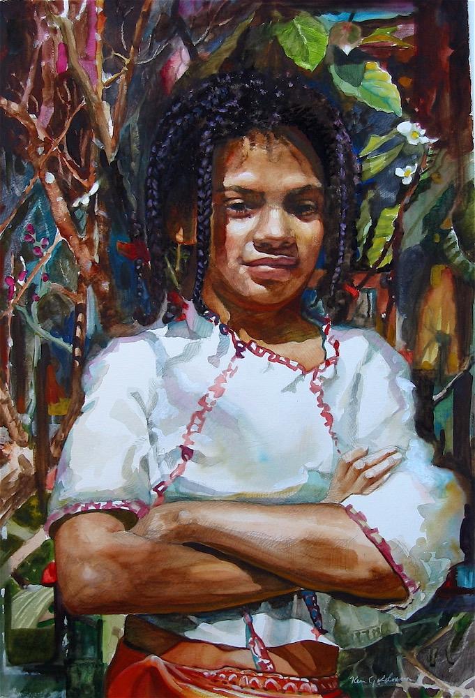 Ken Goldmanfineart_Sienna_Watercolor_22x15 SOLD