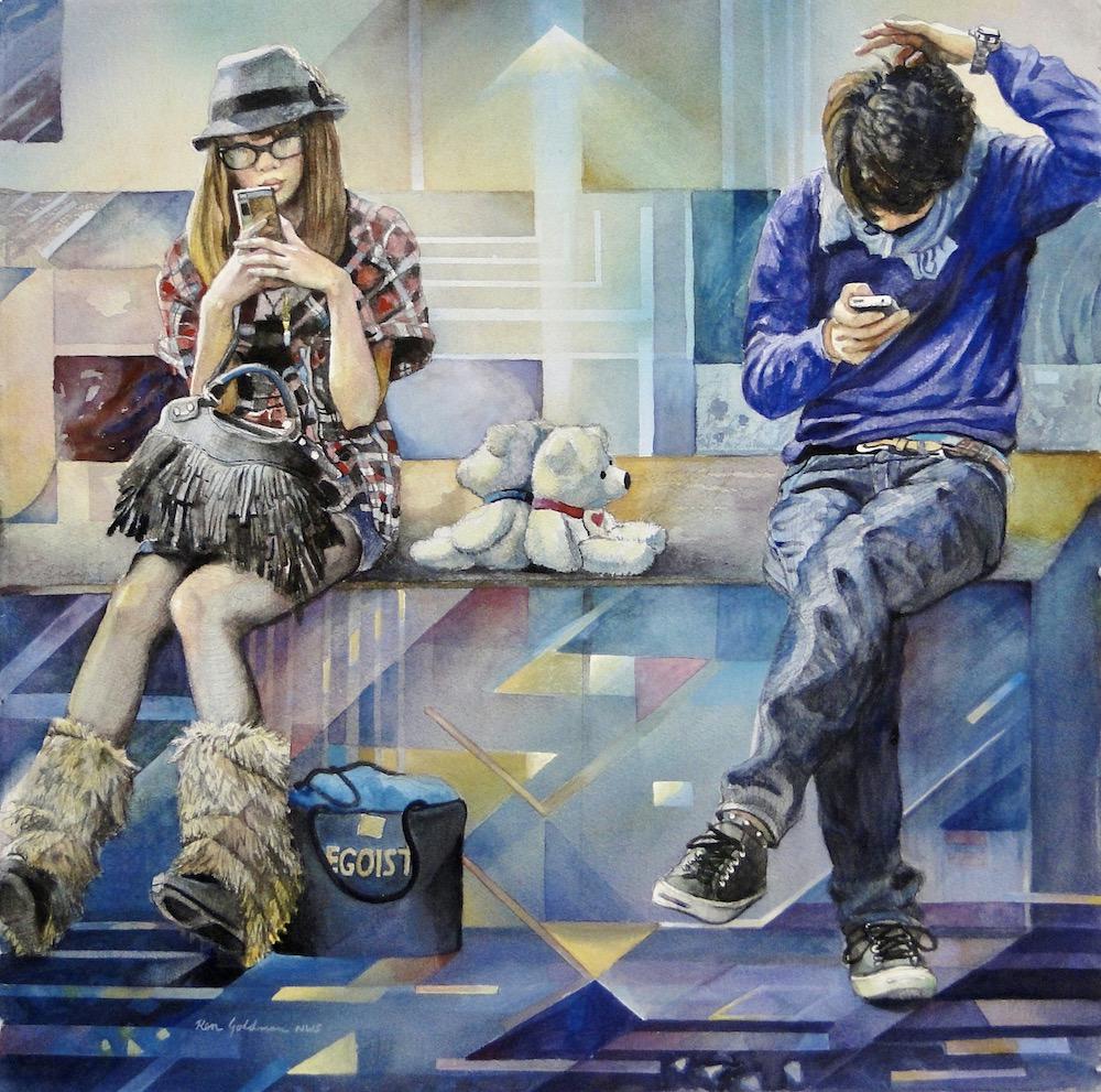 Ken Goldmanfineart_So Far Apart 3_Watercolor_22x22