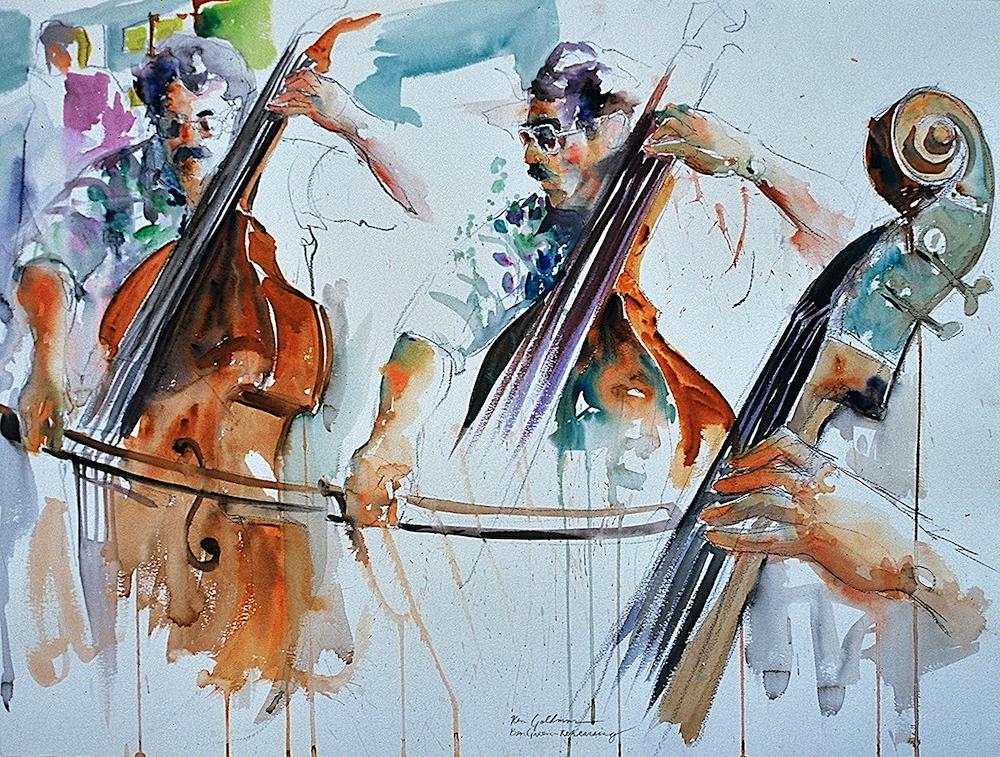 Ken Goldmanfineart_Live Rehearsal 2_Watercolor_22x30, SOLD