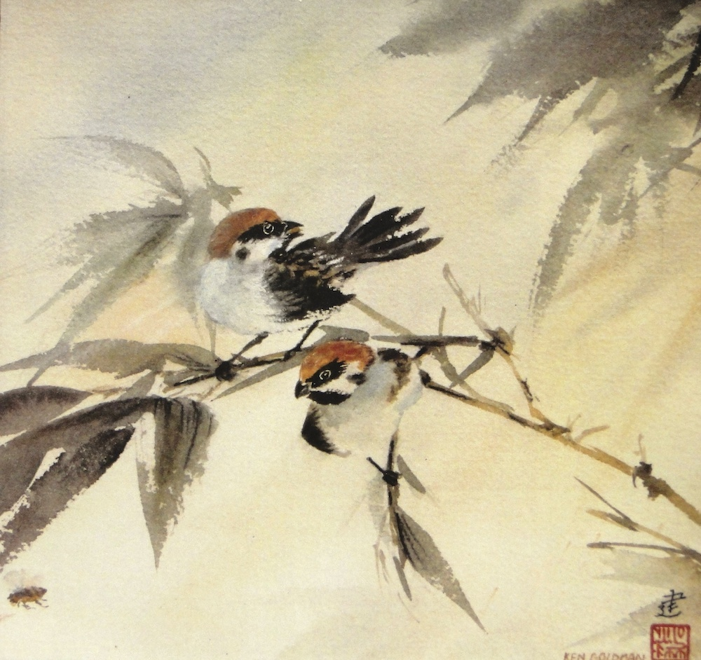 Ken Goldmanfineart_Sparrows and a Bee_Watercolor_15x15, SOLD