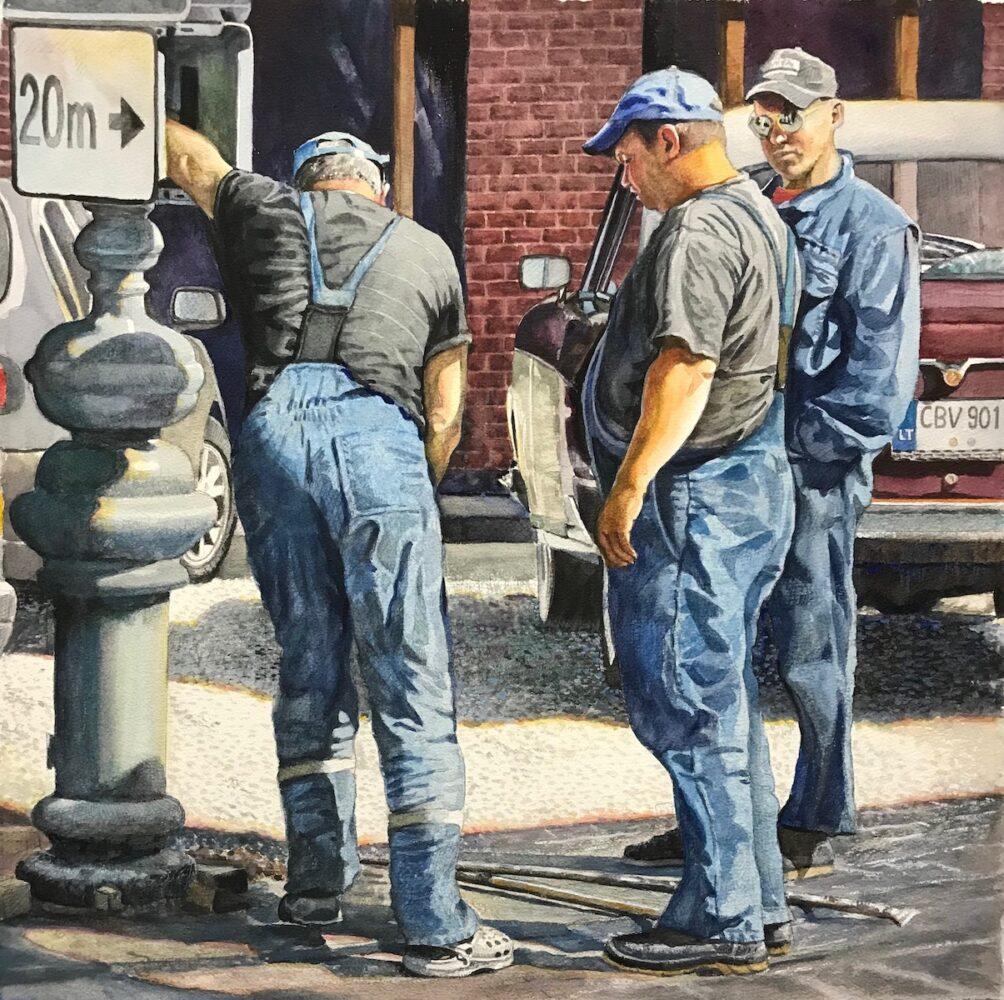Ken Goldmanfineart_Spectating Workers in Lithuania_Watercolor_22x22
