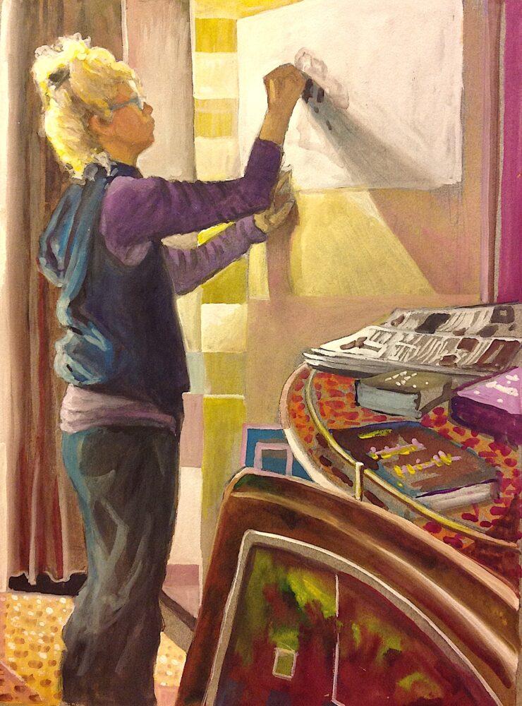 Ken Goldmanfineart_Stephanie at Work_Watercolor_22x15, SOLD
