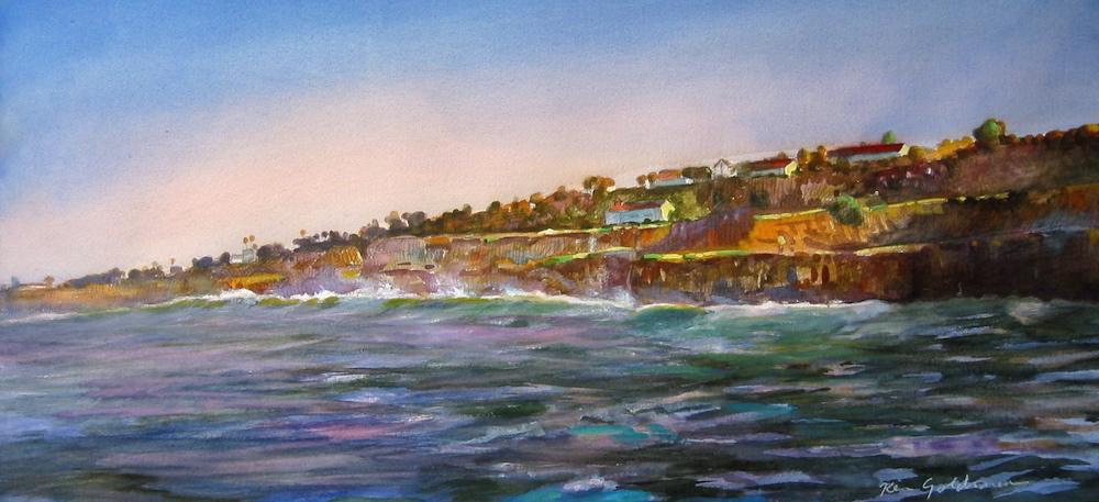 Ken Goldmanfineart_Sunset Cliffs_Watercolor_15x22, SOLD